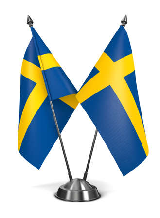 sweden flag: Kingdom of Sweden - Miniature Flags Isolated on White Background. Stock Photo
