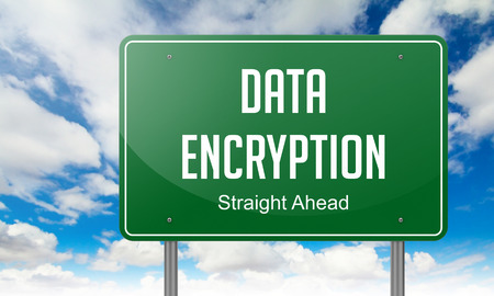 encrypted: Highway Signpost with Data Encryption Wording on Sky Background.