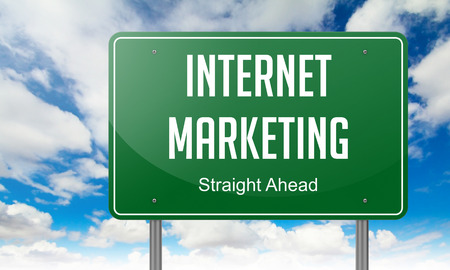 Highway Signpost with  Internet Marketing Wording on Sky Background. Stock Photo