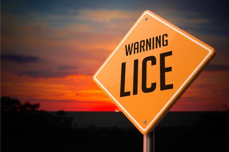 piojos: Los piojos de advertencia Se�al de circulaci�n en la puesta del sol del cielo de fondo.