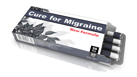overstress: Cure for Migraine, Pills Blister getting out from Gray Box over White Background.
