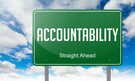 accountability: Highway Signpost with Accountability Wording on Sky Background.
