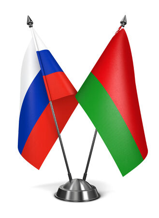 rf: Belarus and Russia - Miniature Flags Isolated on White Background.