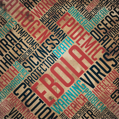 fulvous: Ebola - Grunge Word Collage on Old Fulvous Paper. Stock Photo
