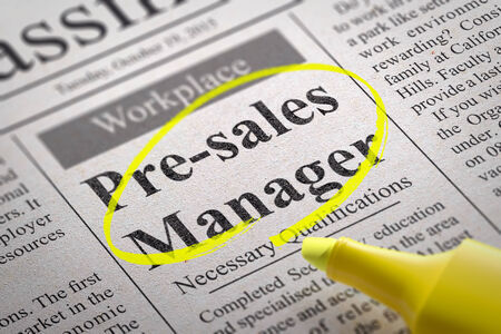 attractiveness: Pre-sales Manager Vacancy in Newspaper. Job Seeking Concept.