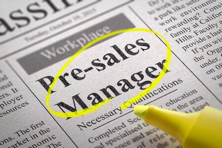 vacante: Pre-venta Vacante Gerente en peri�dicos. B�squeda de empleo Concept. Foto de archivo