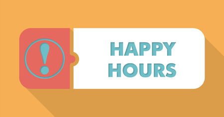 happy hours: Happy Hours Button in Flat Design with Long Shadows on Blue Background.