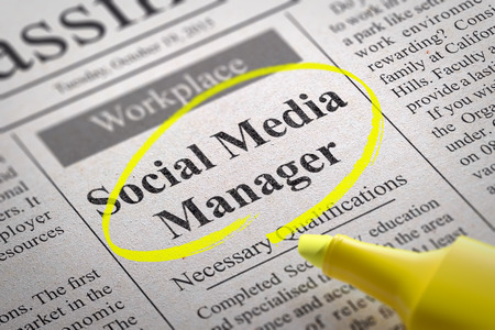 managers: Social Media Manager Jobs in Newspaper. Job Seeking Concept. Stock Photo