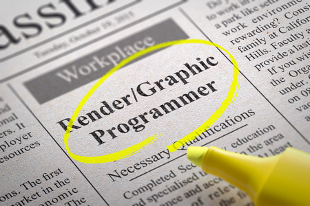 Render, Graphic Programmer Vacancy in Newspaper. Job Seeking Concept.