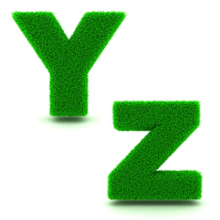 Letters Y, Z - Alphabet Set of Green Grass on White Background in 3d. photo