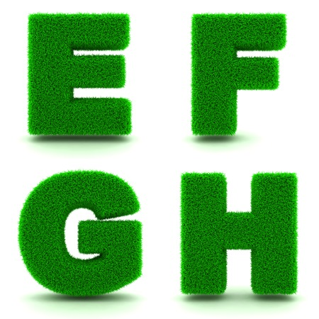g: Letters EFGH- Alphabet Set of 3d Green Grass Letters on White Background. Stock Photo