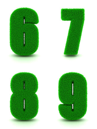 6 7: Digits 6, 7, 8, 9 - Set of Green Grass on White Background in 3d.