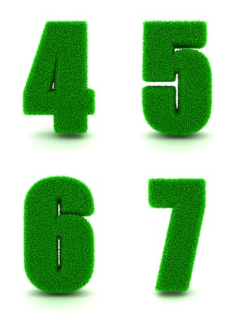 5 6: Digits 4, 5, 6, 7 - Set of Green Grass on White Background in 3d.