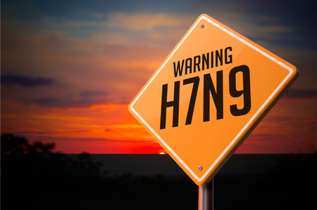neuraminidase: H7N9 on Warning Road Sign on Sunset Sky Background.
