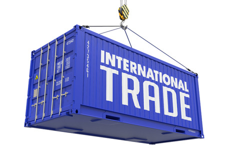 cip: International Trade - Blue Cargo Container hoisted by hook, Isolated on White Background.