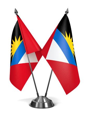 antigua flag: Antigua and Barbuda - Miniature Flags Isolated on White Background.