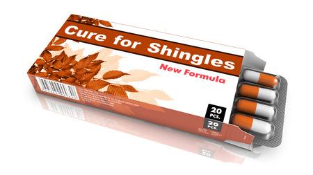 sores: Cure per l'herpes zoster, blister di pillole uscire da Brown casella su sfondo bianco.