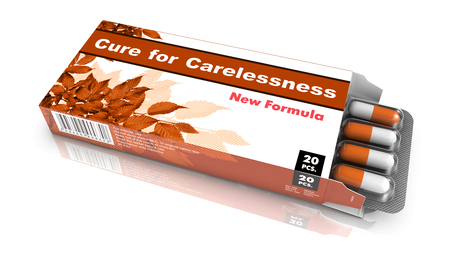 carelessness: Cure for Carelessness, Pills Blister getting out from Brown Box over White Background. Stock Photo