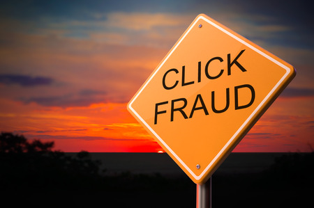 imposture: Click Fraud on Warning Road Sign on Sunset Sky Background. Stock Photo