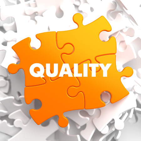 perceptual: Quality on Orange Puzzle on White Background. Stock Photo