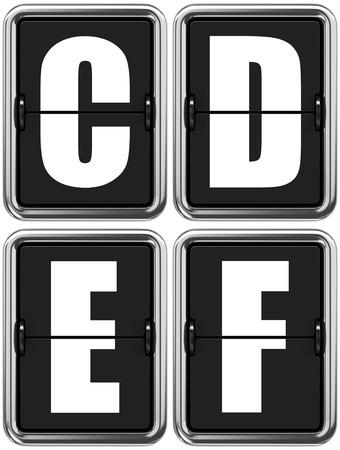 indicator panel: Letters C D E F - Set of Alphabet on Mechanical Scoreboard. Stock Photo