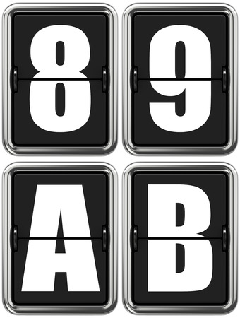 8 9: Letters A, B, and Digits 8, 9. Set of Alphabet and Digits on Mechanical Scoreboard.