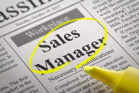 sales manager: Sales Manager Jobs in Newspaper. Job Seeking Concept. Stock Photo