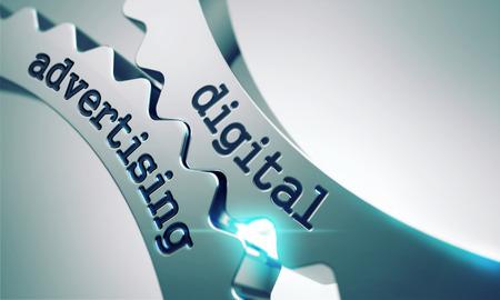Digitální reklamní koncepce na mechanismu kovovými převody.