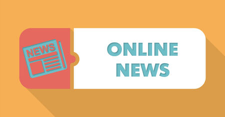 Online News Button in Flat Design with Long Shadows on Blue Background.
