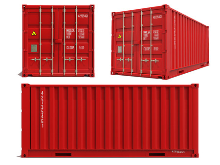 cargo container: Red Container in Three Dimensions Isolated on White Background.
