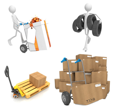 Delivery Concepts - Set of 3D Isolated on White Background. photo