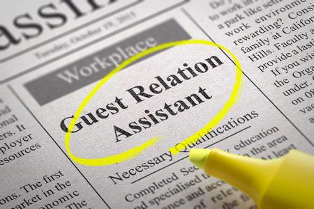 relaciones laborales: Relaci�n Invitado Asistente Trabajo en peri�dicos. B�squeda de empleo Concept. Foto de archivo