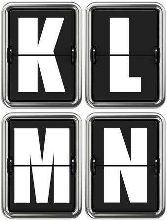 indicator panel: Letters K L M N - Set of Alphabet on Mechanical Scoreboard.