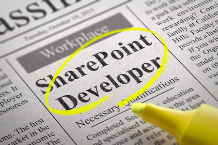 Share Point Developer Vacancy in Newspaper. Job Seeking Concept. Reklamní fotografie