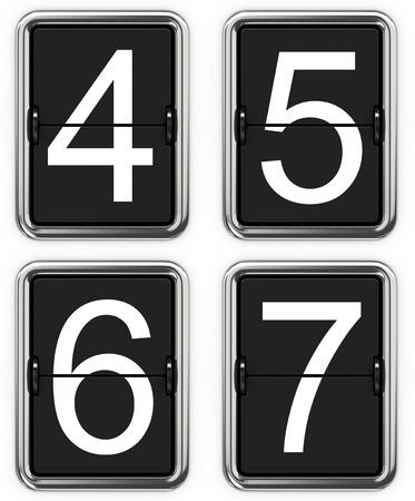 6 7: Digits 4 5 6 7. Set of Digits on Mechanical Scoreboard - Thin Font.