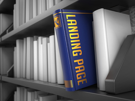 search query: Landing Page - Blue Book on the Black Bookshelf between white ones. Stock Photo