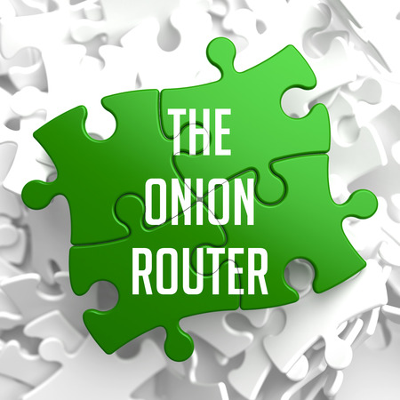 tcp: The Onion Router - Green Puzzle on White Background.