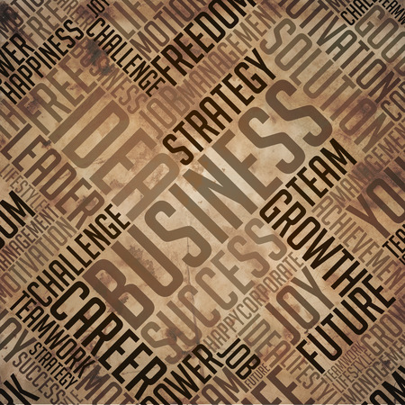 fulvous: Business - Grunge Printed Word Collage in Brown Colors on Old Fulvous Paper.