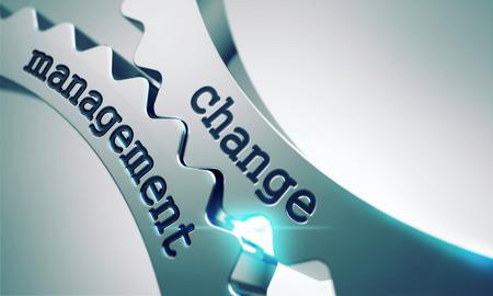 Change-Management-Konzept auf den Mechanismus der Shiny Metal Gears.