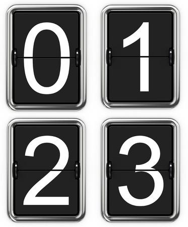 tableau: Digits 0 1 2 3. Set of Digits on Mechanical Scoreboard - Thin Font.