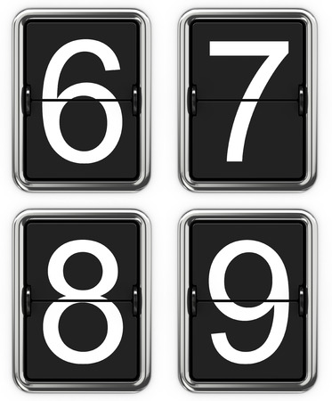 6 7: Digits 6 7 8 9. Set of Digits on Mechanical Scoreboard - Thin Font.