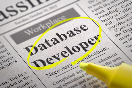 Database Developer Vacancy in Newspaper. Job Seeking Concept.