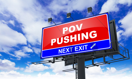intrude: Pov Pushing Inscription on Red Billboard on Sky Background.