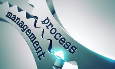 Process Management auf der Mechanismus glänzend Metallgetriebe. Lizenzfreie Bilder