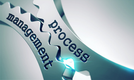 Process Management on the Mechanism of Shiny Metal Gears. Stockfoto