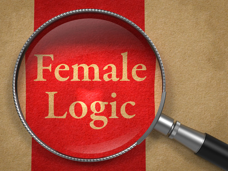cognition: Female Logic through Magnifying Glass on Old Paper with Red Vertical Line.