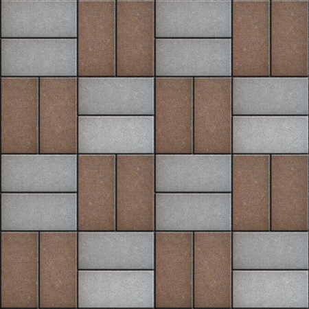 staggered: Gray and Brown Rectangle Pavement, Laid Staggered. Seamless Texture. Stock Photo