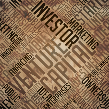fulvous: Venture Capital - Grunge Printed Word Collage in Brown Colors on Old Fulvous Paper. Stock Photo
