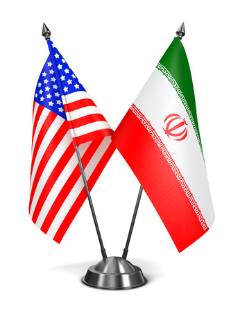 USA and Iran - Miniature Flags Isolated on White Background. photo
