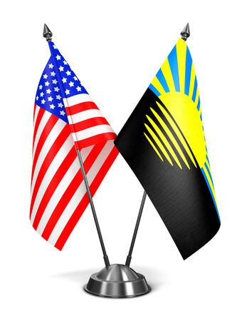 proclaimed: USA and Donetsk - Miniature Flags Isolated on White Background.